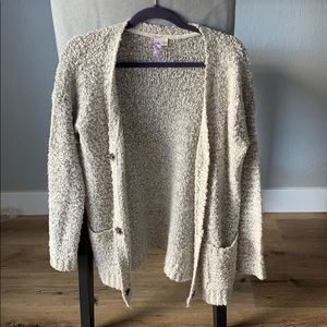 Chunky gray button cardigan